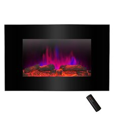 "Pebble and Log Interchangeable 36"" Wall Mount Electric Fireplace with Remote"
