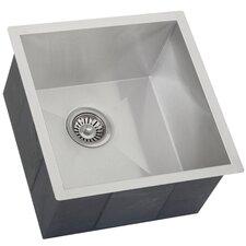 "Ticor 17-1/4"" X 17-1/2"" Inch Zero Radius 16 Gauge Stainless Steel Single Bowl Square Undermount Kitchen Bar Sink"