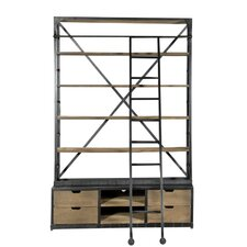 """DoubleHutch Style 93"""" Bookcase with Ladder"""