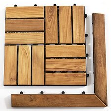 "Le Click Teak 1.5"" x 1"" Corner Pieces Interlocking in Natural (Set of 2)"