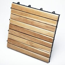 "Le Click Exclusive Teak 12"" x 12"" Interlocking Deck Tiles (Box of 10)"