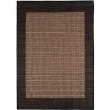 Recife Checkered Field Black Cocoa with Dark Brown Frame Indoor/Outdoor Area Rug