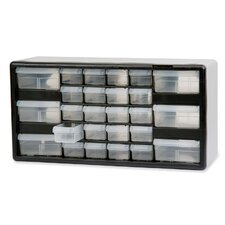 """Stackable Cabinet, 26 Drawers, 20""""x6-3/8""""x10-11/32, Black/Gray"""