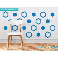 Hexagon Fabric Wall Decal (Set of 16)