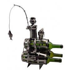 Fisherman on Barrels 3 Bottle Tabletop Wine Rack