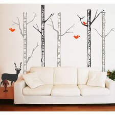 Winter Cool Forest with Deer Wall Decal