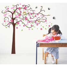 Cute Flower Tree with Cute Owl Wall Decal