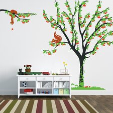 Cherry Tree with Squirrels Wall Decal