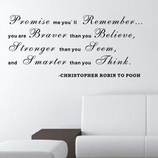 Promise Me You'll Remember - Christopher Robin to Pooh Wall Decal