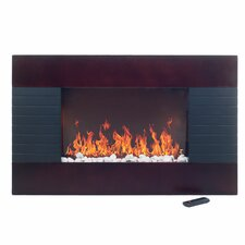 Mahogany Wood Trim Electric Fireplace