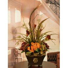 Hydrangea and Lisianthus Silk Flower Arrangement in Vase