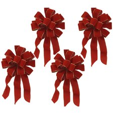 Wired Holiday Red Velvet Bows (Set of 4)