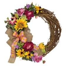 Sunflower and Black Eyed Susan Grapevine Wreath with Burlap Bow