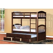 Twin Over Twin Standard Bunk Bed with Trundle and 3 Drawers