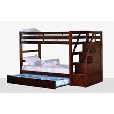 Twin Over Twin Standard Bunk Bed with Trundle and Storage Step