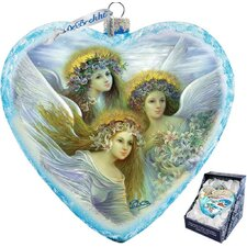 Holiday Limited Edition Three Angels Glass Heart Ornament