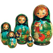Russian 5 Piece Ginger Bread Nested Doll Set