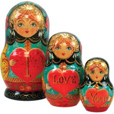 Russian 3 Piece I Love You Nested Doll Set