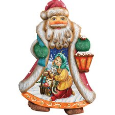 Derevo Santa Girl with Toys Ornament Figurine with Scenic Painting
