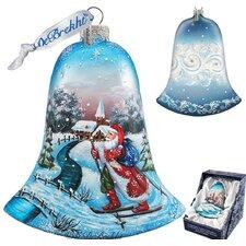 Santa on Ski Bell Ornament