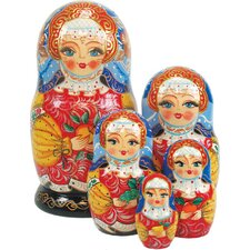 Russia 5 Piece Apple Girl Nested Doll Set