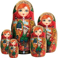 Russian 5 Piece Santa Workshop Nested Doll Set