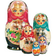 Russian 5 Piece Kitty Cat Nested Doll Set