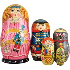 Russian 5 Piece Clara Nutcracker Nested Doll Set