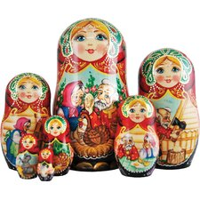 Russian 5 Piece Golden Egg Nested Doll Set