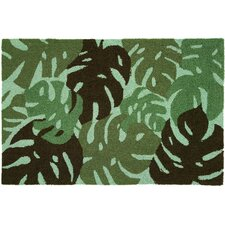 Floral and Garden Tropical Leaves Green Rug