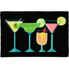 Kitchen Carefree Happy Hour Black Area Rug
