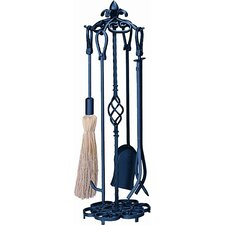 4 Piece Wrought Iron Horseshoe Fireplace Tool Set With Stand