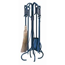 4 Piece Wrought Iron Fire Tool Set With Stand