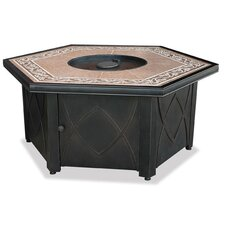 LP Gas Outdoor Fire Pit with Decorative Tile Mantel