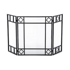3 Panel Wrought Iron Fireplace Screen with Diamond Design