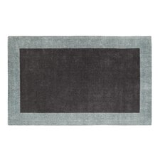 Manhattan Charcoal Solid Bordered Area Rug