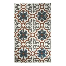 Casual Rust/Blue Hand Woven Area Rug