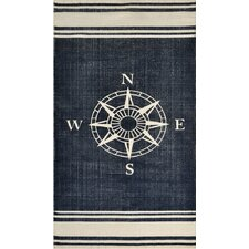 Hand-Woven Navy/Off White Area Rug