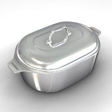 """Gourmet 21"""" Heavy Cast Aluminum Covered Oval Roaster with Non-Stick Interior"""