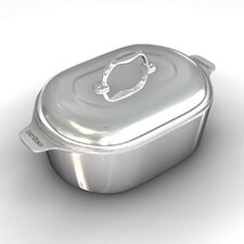 """Gourmet 16.5"""" Heavy Cast Aluminum Covered Oval Roaster with Non-Stick Interior"""