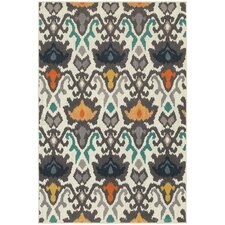 Hawkins Indoor/Outdoor Floral Tribal Ikat Ivory/Multi Area Rug