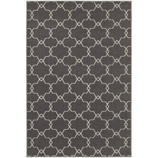 Hawkins Indoor/Outdoor Geometric Trellis Grey/Ivory Area Rug