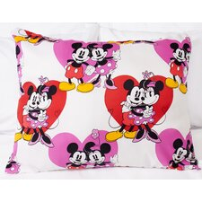 Disney Mickey Minnie Mouse Hearts Polyester Standard Pillow
