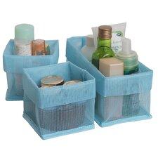 3 Piece Quick Dry Bathroom Counter Cabinet Storage Bin Organizer Set