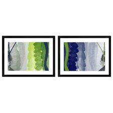 Navy and Green Abstract Brushes 2-Piece Wall Art