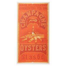 """Champagne and Oysters"" Vintage Advertisement on Wrapped Canvas"