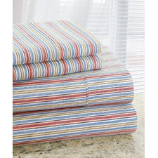 Park Avenue 350 Thread Count 4 Piece Cotton Rich Red Stripe Printed Sheet Set