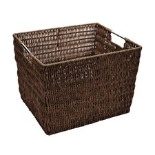 Natural Faux Rattan Vertical Weave Shelf Tote