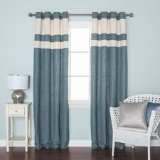 Striped Heavyweight Textured Faux Linen Grommet Top Curtain Panels (Set of 2)