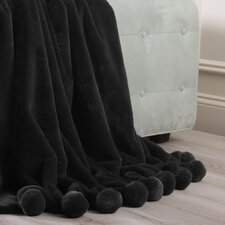 Luxe Faux Fur Pom Pom Throw Blanket